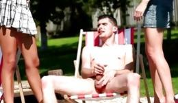 Passionate intercourse performed at the swimming pool by horny chaps and girls