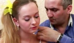 Mature hairy dude is putting his large schlong inside this cutie little babe