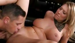 Sassy blonde is getting her tight pussy hole sexually abused hard core