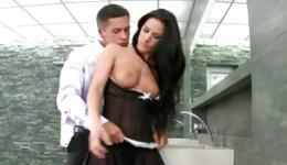 Hot brunette is bending over getting slammed and is licking boner