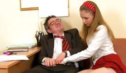 She is getting her touched by the tasty raunchy old dude with hands