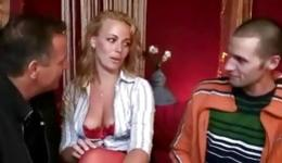 Hot blonde is getting pounded by two horny dudes and fucking mouth