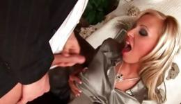 Sassy blonde is swallowing a long boner and is riding it hard core