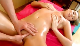 Blonde marvelous bitch is sucking on the cock and she is fingering the big cock