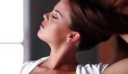 Brown-haired palatable young woman is pleasuring her good cum-hole