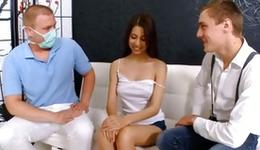 Stripped brown-haired seducing a indicated 2 fellows who are beating her and deep giving a French
