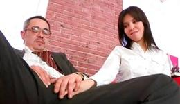 Dark-haired sluttish she is lapping up unstoppably on a coarse sausage