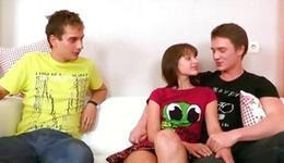 Innocent adolescent sweetheart and her 2 non-standard fucks trampling vulgar and rough