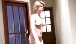 Playful lady on her knees swallowing a fat cock and gets cum covered