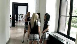 Dazzling and pornographic students seduce their concupiscent teacher