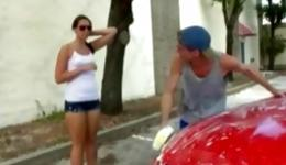 Nerdish young mademoiselle in sexy clothes seduces her muscular bf near the car