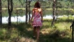Delicate and lascivious chavette keeps masturbating near the river