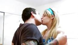 Strong  ,well-built man with a tattoo fucks a young blonde