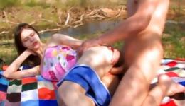 Bitch is outdoors pleasuring a long tasty dick deep throat into mouth