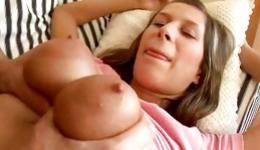 Teen babe flashing small tits and swallowing a tasty dick hard